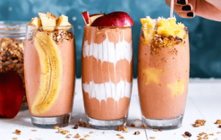 three health shakes with fruit
